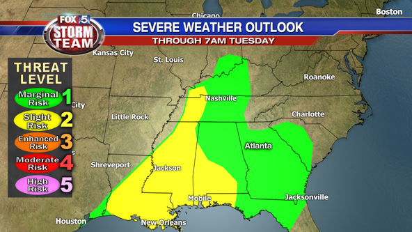 Severe storms possible Monday night