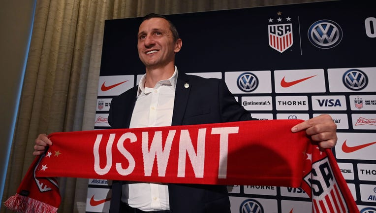 Vlatko Andonovski poses for photographers after a press conference where it was announced as the new US Soccer Womens National Team head coach on October 28, 2019 at Kimpton Hotel Eventi in New York City. - Andonovski 43, comes to U.S. Soccer after serving as a head coach during all seven seasons of the National Women's Soccer League, a stint which included two championships with FC Kansas City (2014 and 2015). (Photo by TIMOTHY A. CLARY / AFP) (Photo by TIMOTHY A. CLARY/AFP via Getty Images)