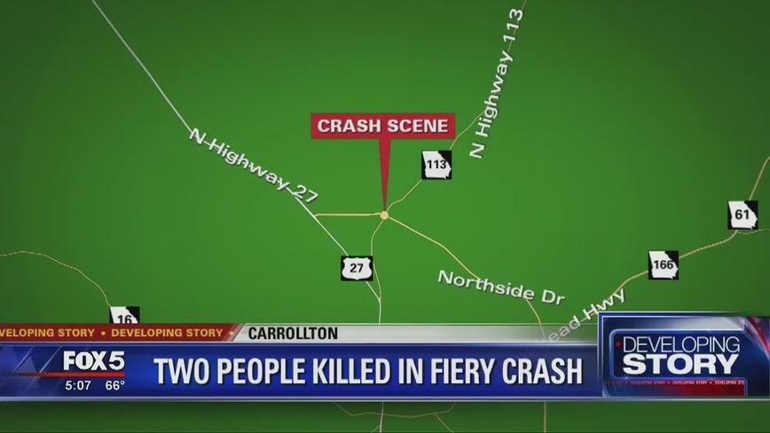Troopers: 2 dead in fiery single-car crash in Carrollton