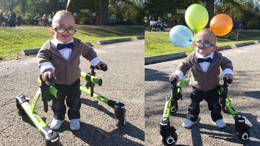 Photo of 2-year-old with cerebral palsy in 'Up' Halloween costume goes viral