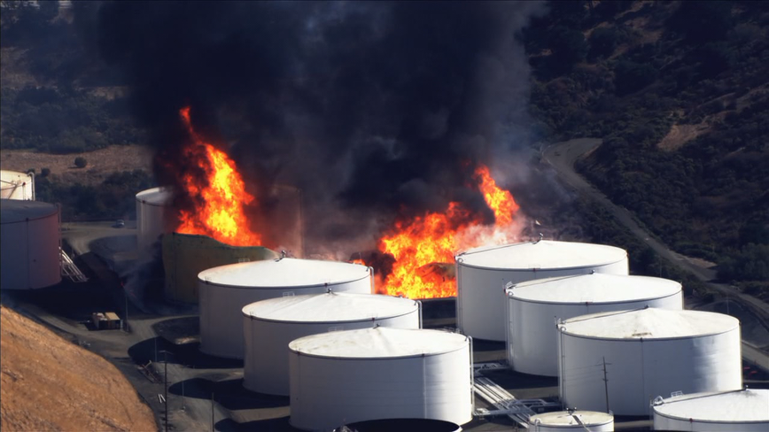 """Fire at Crockett energy facility declared """"hazmat emergency,"""" no injuries reported"""