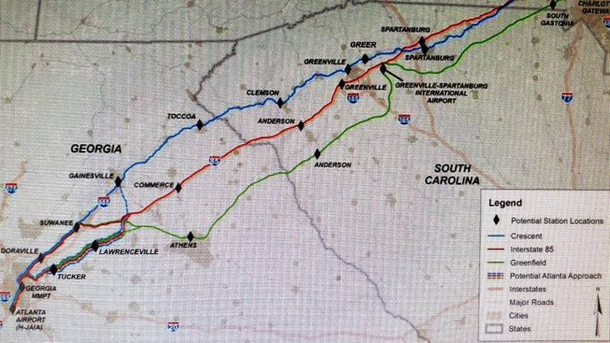 GDOT studying high-speed rail between Atlanta and Charlotte