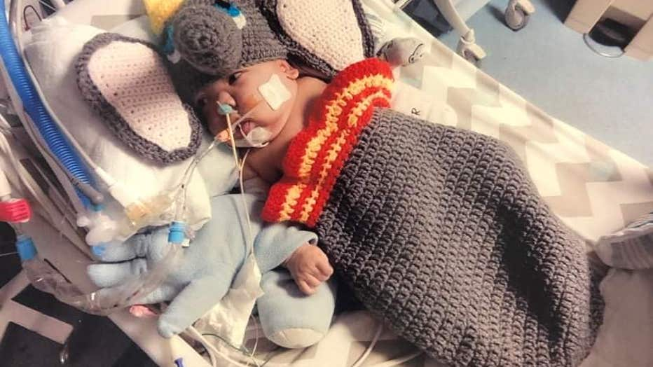 Children's NICU patient in Dumbo costume