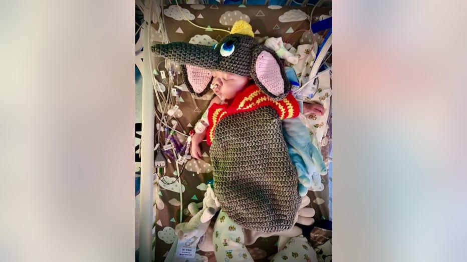 Children's Healthcare of Atlanta NICU patient dressed in crocheted Dumbo costume