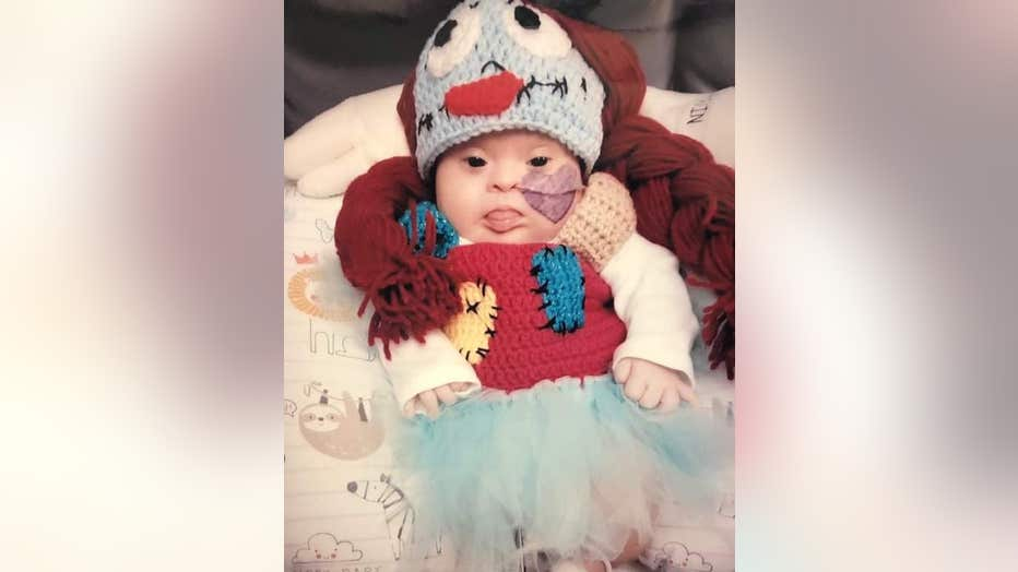 Children's Healthcare of Atlanta NICU patient dressed as Sally from