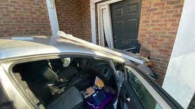 Police post pictures of a car which crashed into a home