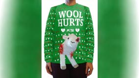 PETA releasing 'Wool Hurts' Christmas sweater with 3D 'bruised and bloodied' plush sheep