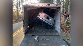 Massachusetts driver crashes SUV into trailer