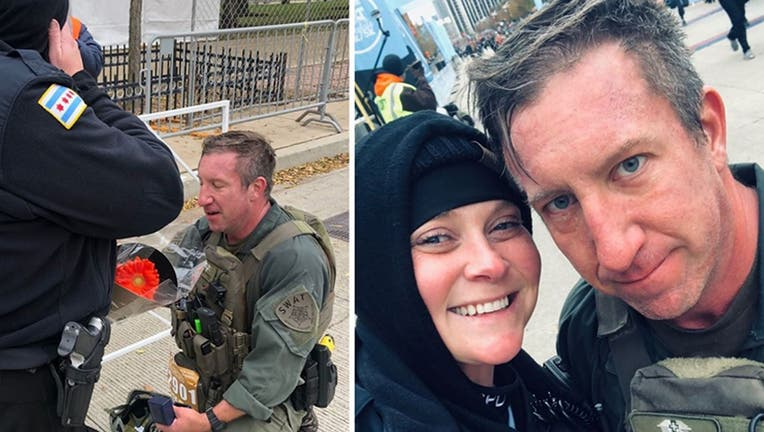 Chicago Police Officer Erin Gubala with SWAT Sgt. Mike Nowacki got engaged Sunday after Nowacki ran the Hot Chocolate 15k in full gear and reviving another runner. (Chicago Police Department)