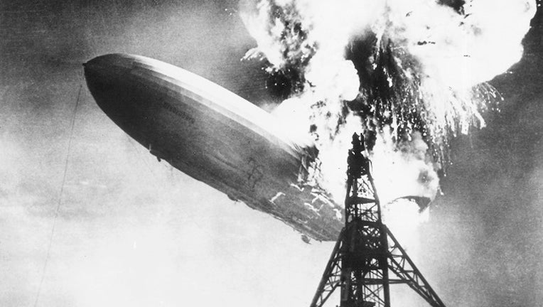 The explosion of the German airship Hindenburg while docking in the airship station of Lakehurst, New Jersey, May 6, 1937, United States of America, 20th century.