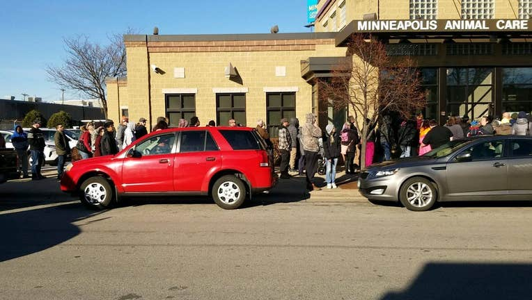 A line of people wrapped outside the Minneapolis Animal Care and Control on Friday, November 22, 2019.