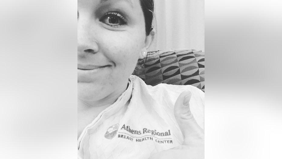 Ashley Gunter takes a self during treatment