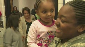Deployed military mom surprises preschool daughter with Christmas visit