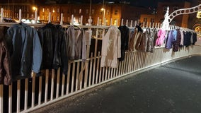 'Please take one': People hang coats on Dublin bridge to keep city's homeless warm