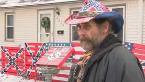Iowa homeowner says his swastikas, Confederate flags aren't racist