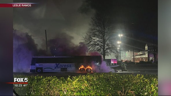 Transit bus catches fire in Cobb County