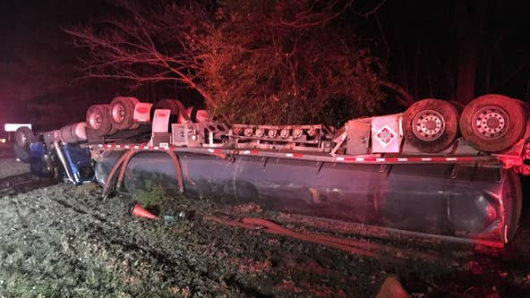 I-985 closed at Friendship Road exit due to overturned tanker