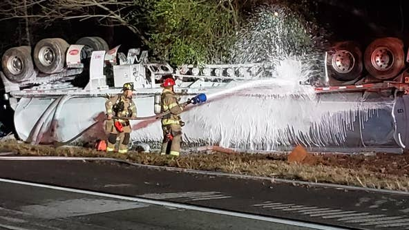 Overturned tanker causes headache along busy stretch of I-985