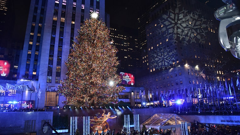 NEW YORK, NEW YORK - DECEMBER 04: A view of the Rockefeller Center Christmas Tree, with Swarovski Star atop, during the 87th Annual Rockefeller Center Christmas Tree Lighting Ceremony at Rockefeller Center on December 04, 2019 in New York City. (Photo by Steven Ferdman/Getty Images)