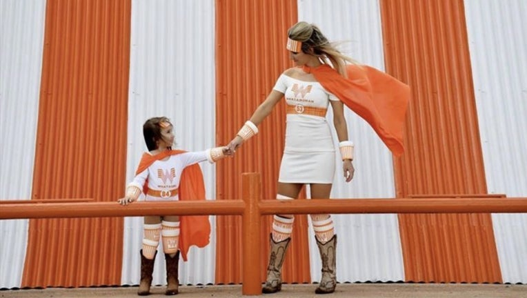 It was too cold on Halloween for Hailee Bage and daughter Mattie to wear their homemade Whataburger superhero costumes as planned, so the duo rocked its outfits at a photo shoot a few weeks later.