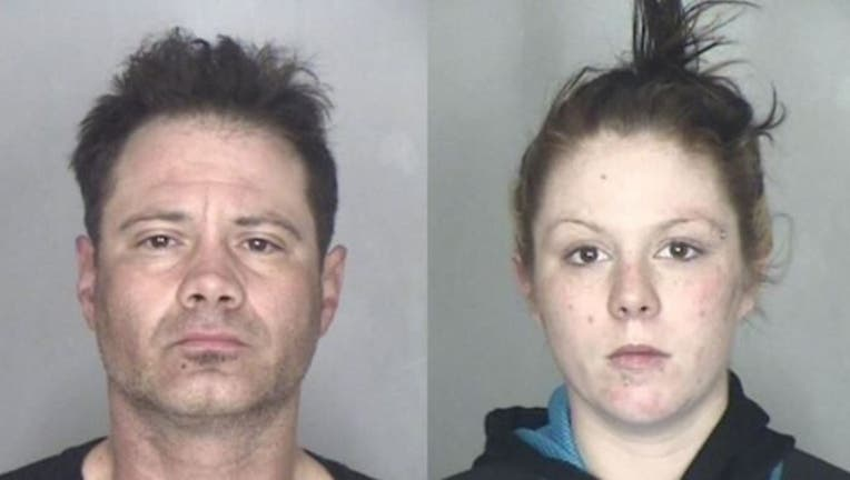 Two alleged porch pirates were arrested Tuesday after police found more than 100 items addressed to other people in their car.