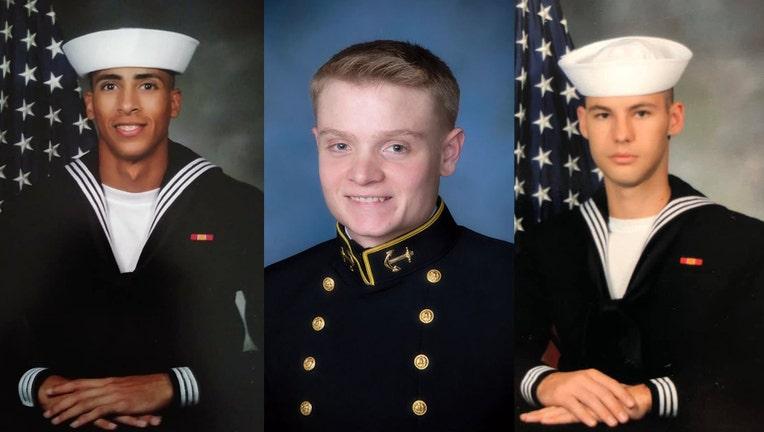 L to R: Mohammed Haitham, Joshua Watson, and Cameron Walters (Photos: US Navy)