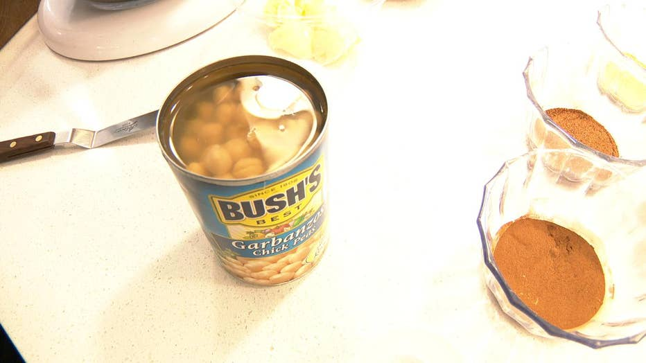 Can of chickpeas. The juice is used as an egg replacement.