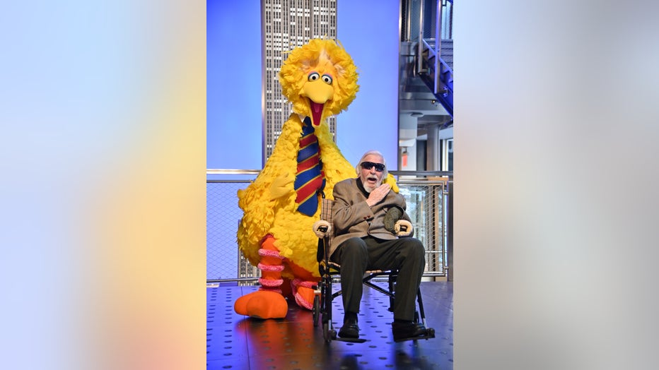 NEW YORK, NEW YORK - NOVEMBER 08: Sesame Street's Big Bird And Puppeteer Caroll Spinney Light The Empire State Building at The Empire State Building on November 08, 2019 in New York City. (Photo by Theo Wargo/Getty Images)