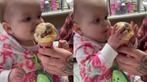 Baby's hilarious reaction to first taste of ice cream goes viral