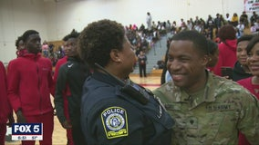 Special surprise: Son comes home early from deployment, surprises mother