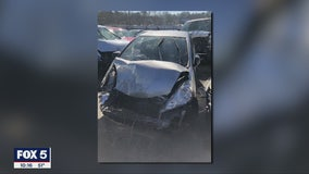 Thieves nearly run down officer and crash in creek after stealing car
