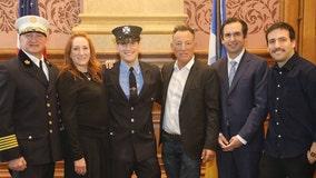 Bruce Springsteen, Patti Scialfa attend son's swearing-in as Jersey City firefighter