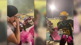 Pensacola football player leaves team celebration to give flowers to grandmother in the stands