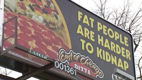 Ohio pizza shop's 'fat people are harder to kidnap' billboard being taken down after customer complaint