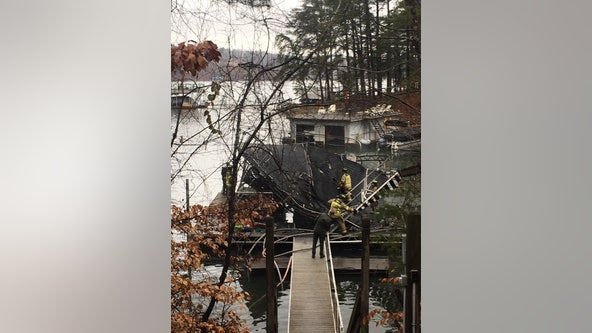 Officials investigating boat dock fire in Hall County