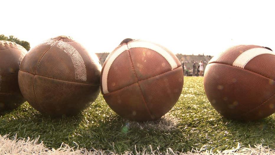 footballs on playing field