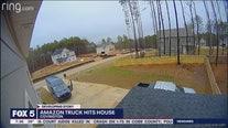 Amazon truck hits home