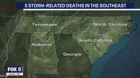 Bad weather moves into Eastern states; 5 dead in South