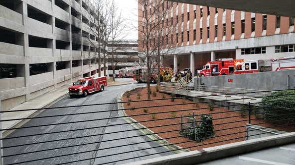 Fire damages several vehicles at Buckhead hospital parking deck