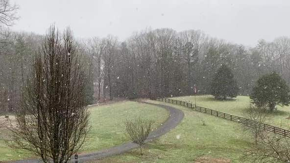 Snow falling in north Georgia