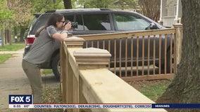 Families enjoying porch portraits