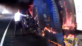 N.J. State Police rescue truck driver from burning tractor-trailer