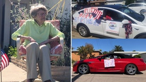 California Marine surprised for 104th birthday with parade amid coronavirus stay-at-home order