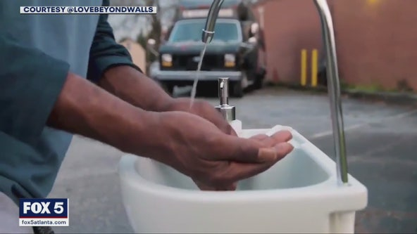 Atlanta area campaign places portable washing station in areas frequented by people who are homeless