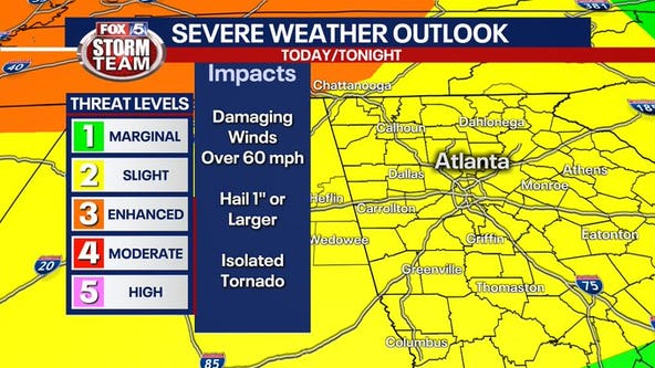 Severe storms possible through early Thursday morning