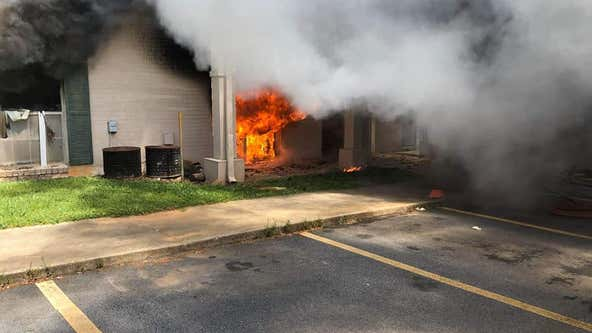 DeKalb County firefighters battle blaze at apartment complex