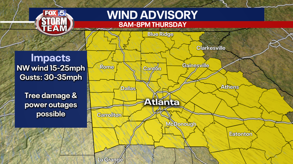 Wind Advisory until 8PM Thursday for most of north Georgia