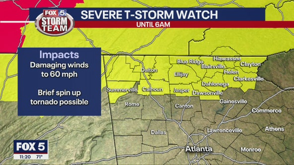 Severe Thunderstorm Watch issued for portions of north Georgia
