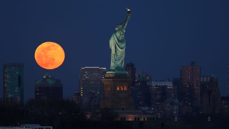 Super Worm Moon Rises in New York City