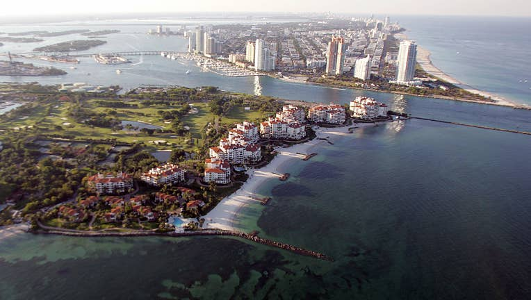 Aerial view of the exclusive Fisher Isla